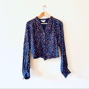 Vintage 80s blue floral cropped dolman sleeve top